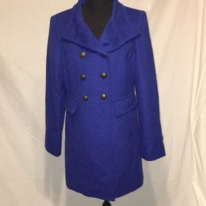 Limited cobalt blue wool pea coat
